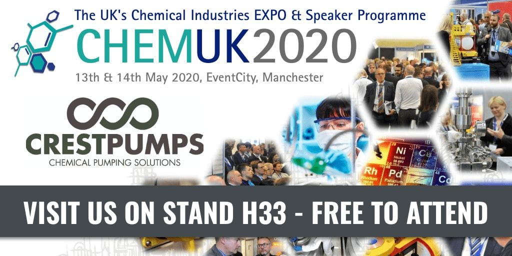 ChemUK 2020 – Crest Pumps will be exhibiting Stand H33
