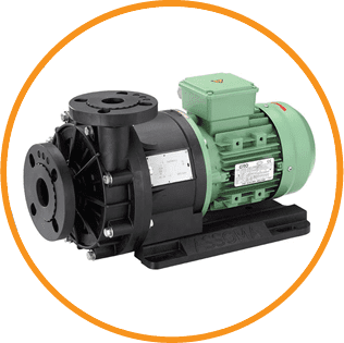 a black and green magnetic drive pump for Crest