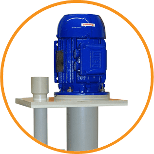 A blue and white plastic vertical pump by Crest