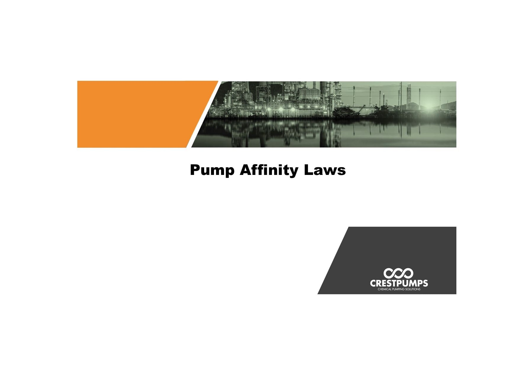 crest pumos logo and title page for pump affinity laws blog post